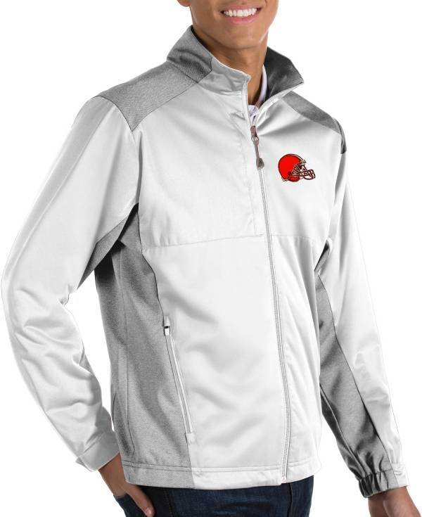 Antigua Men's Cleveland Browns Revolve White Full-Zip Jacket product image