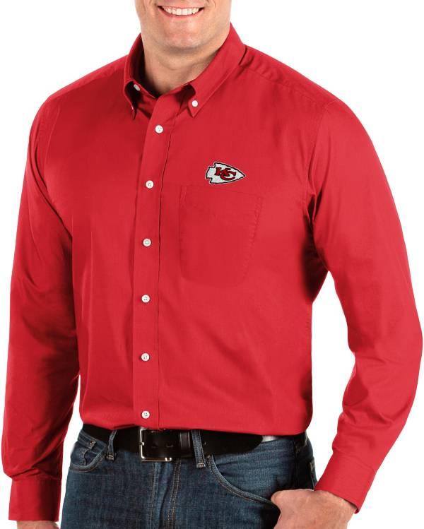 Antigua Men's Kansas City Chiefs Dynasty Button Down Red Dress Shirt product image