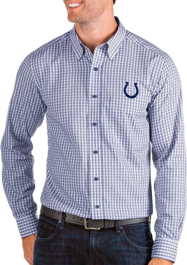 Antigua Men's Indianapolis Colts Structure Button Down Royal Dress Shirt product image
