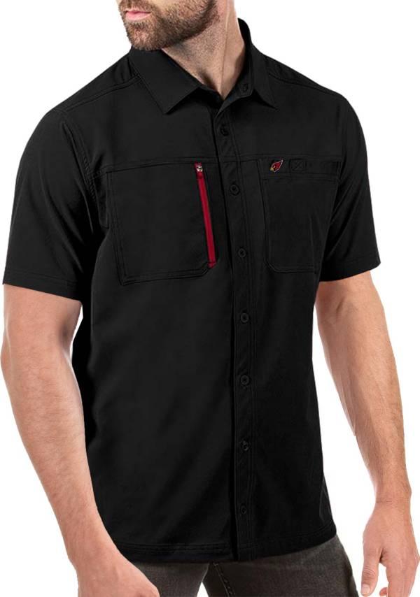 Antigua Men's Arizona Cardinals Kickoff Woven Black Collared T-Shirt product image