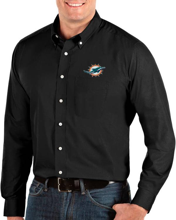 Antigua Men's Miami Dolphins Dynasty Button Down Black Dress Shirt product image