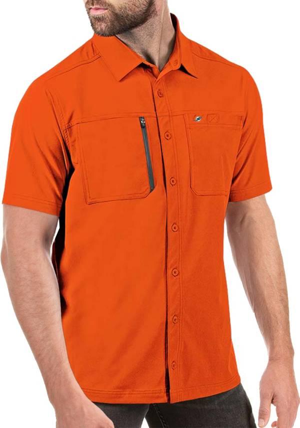 Antigua Men's Miami Dolphins Kickoff Woven Orange Collared T-Shirt product image