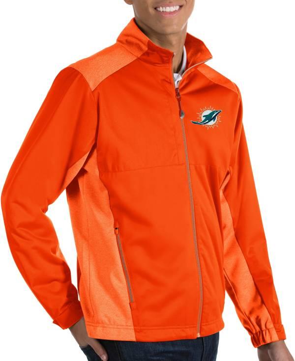 Antigua Men's Miami Dolphins Revolve Orange Full-Zip Jacket product image