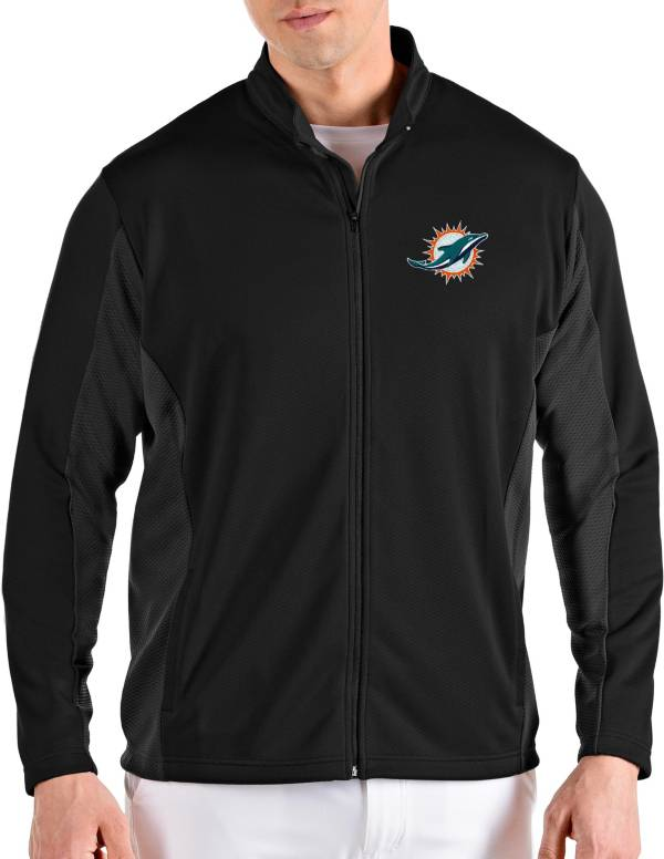 Antigua Men's Miami Dolphins Passage Black Full-Zip Jacket product image