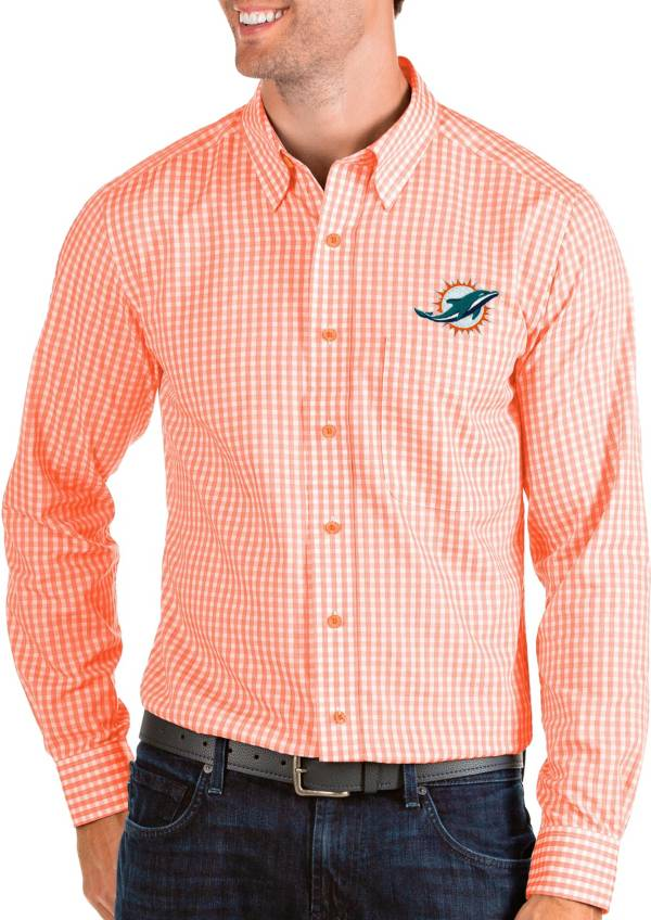 Antigua Men's Miami Dolphins Structure Button Down Orange Dress Shirt product image