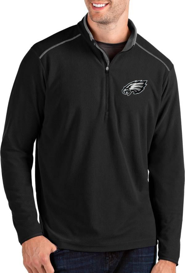 Antigua Men's Philadelphia Eagles Glacier Black Quarter-Zip Pullover product image