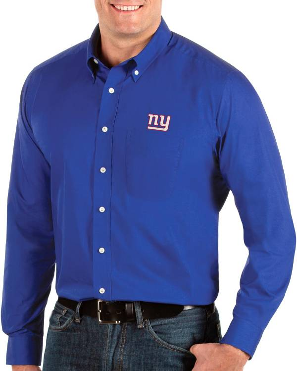 Antigua Men's New York Giants Dynasty Button Down Royal Dress Shirt product image