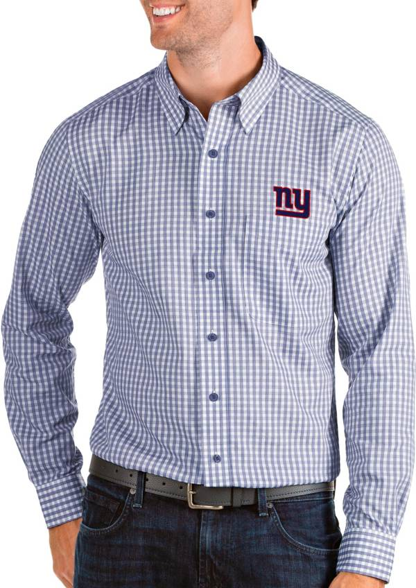 Antigua Men's New York Giants Structure Button Down Royal Dress Shirt product image