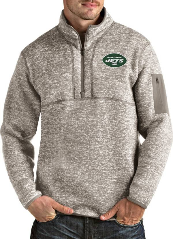 Antigua Men's New York Jets Fortune Quarter-Zip Oatmeal Pullover product image