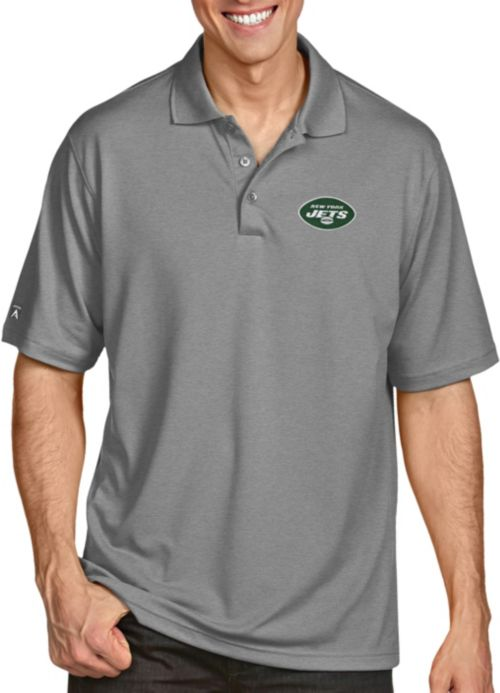 43197c7a69f Antigua Men's New York Jets Pique Xtra-Lite Performance Grey Polo.  noImageFound. 1