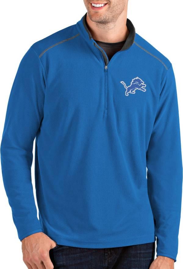 Antigua Men's Detroit Lions Glacier Blue Quarter-Zip Pullover product image