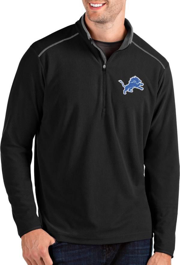 Antigua Men's Detroit Lions Glacier Black Quarter-Zip Pullover product image