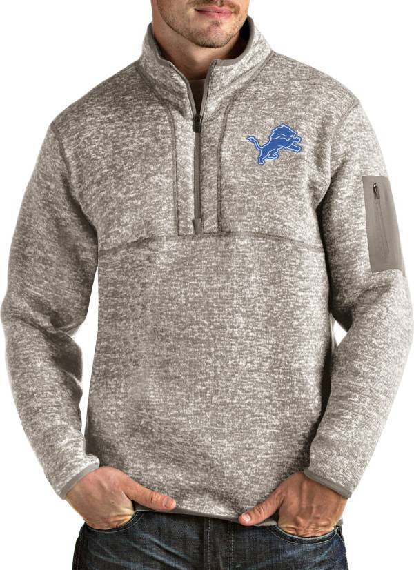 Antigua Men's Detroit Lions Fortune Quarter-Zip Oatmeal Pullover product image