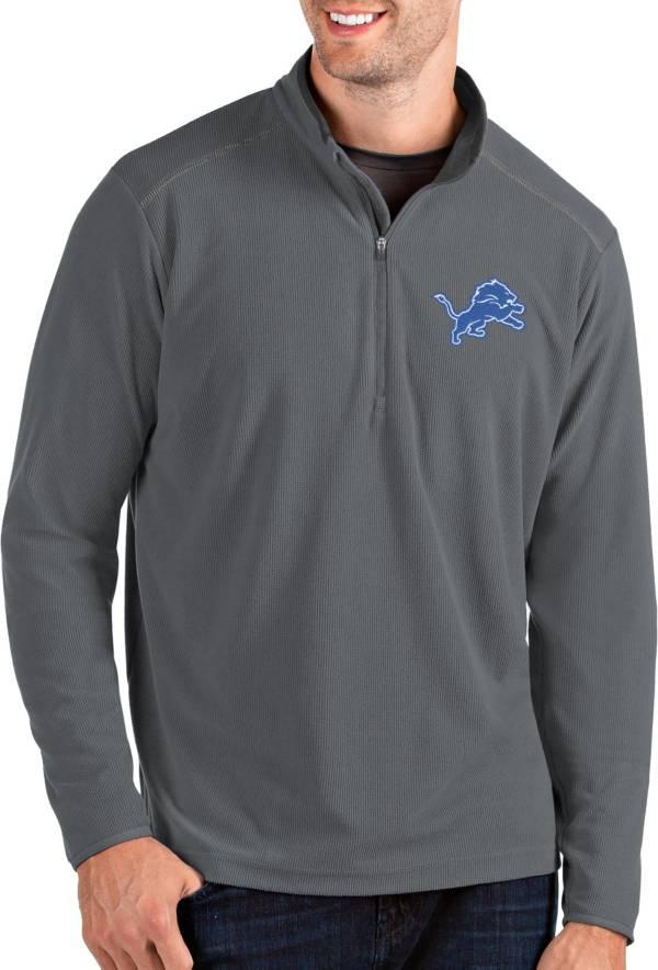 Antigua Men's Detroit Lions Glacier Grey Quarter-Zip Pullover product image