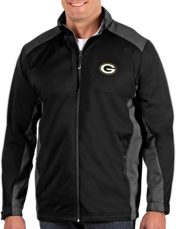 Antigua Men's Green Bay Packers Revolve Black Full-Zip Jacket product image