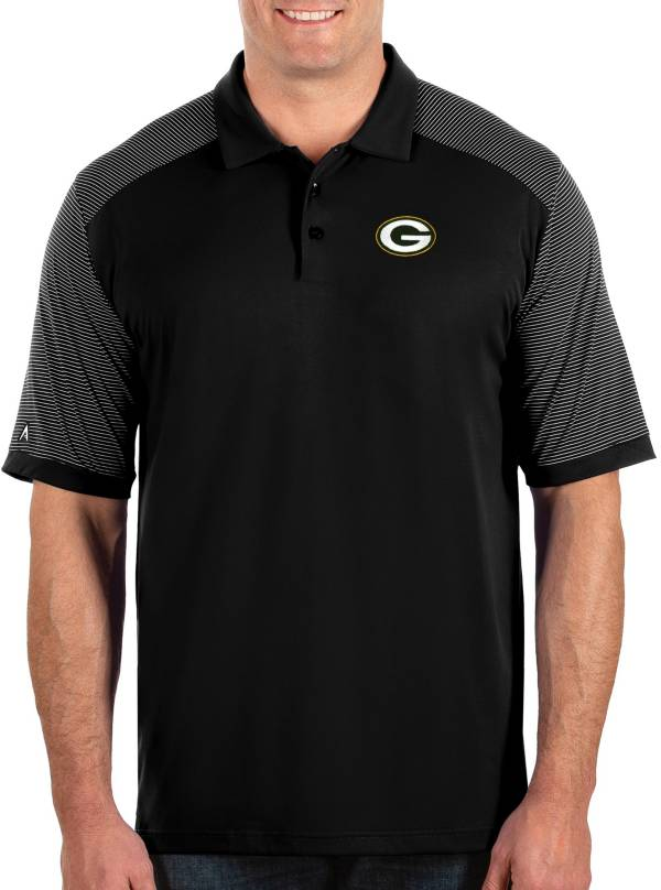 Antigua Men's Green Bay Packers Engage Performance Black Polo product image
