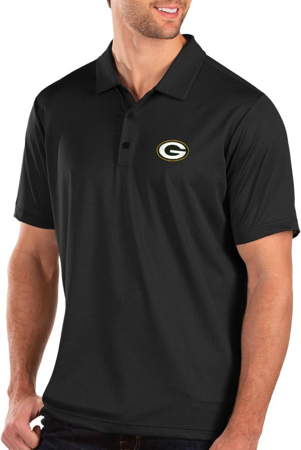 Antigua Men's Green Bay Packers Balance Black Polo product image