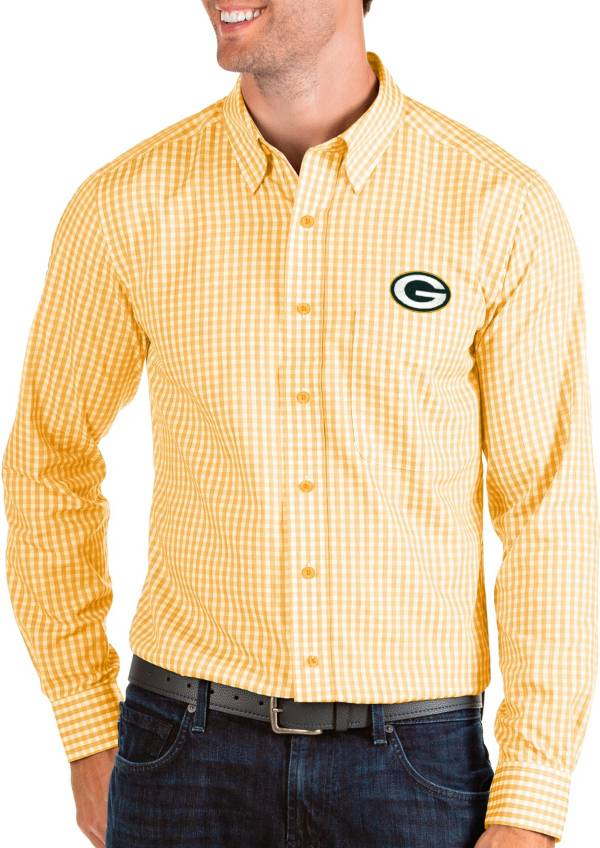 Antigua Men's Green Bay Packers Structure Button Down Gold Dress Shirt product image