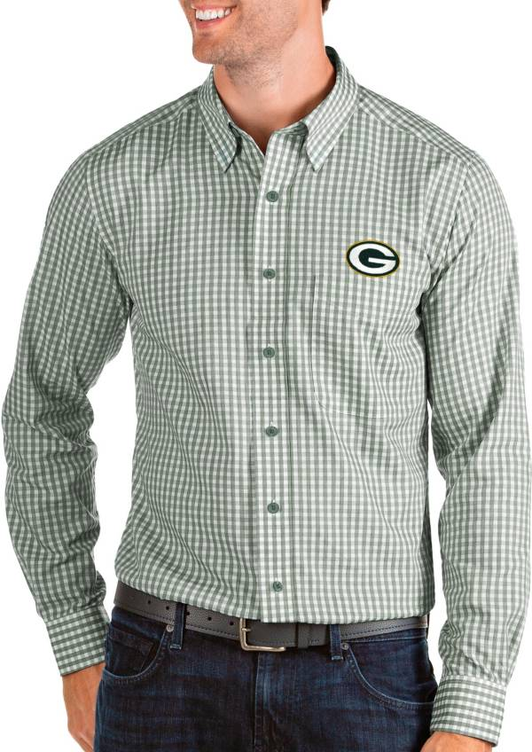 Antigua Men's Green Bay Packers Structure Button Down Green Dress Shirt product image