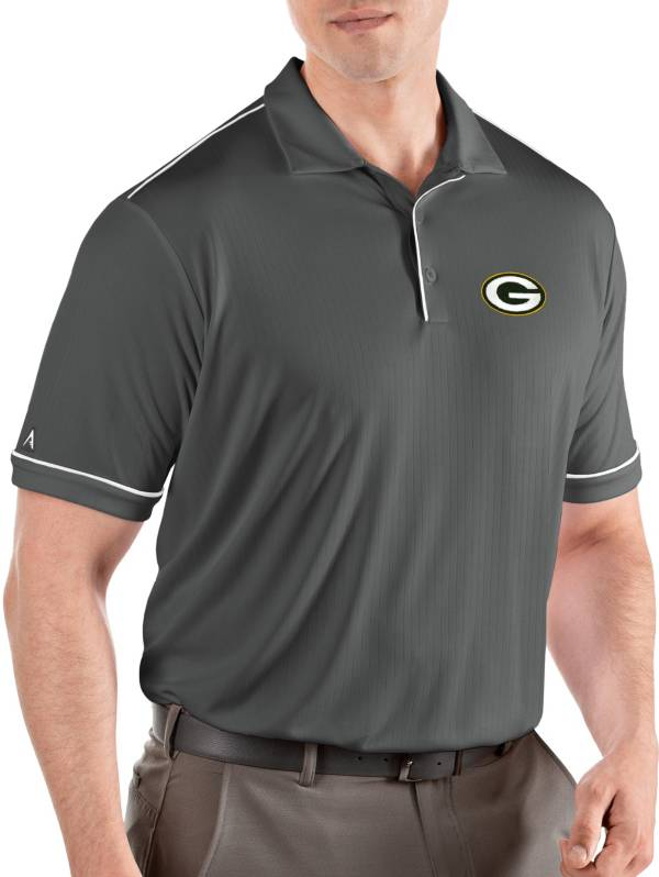 Antigua Men's Green Bay Packers Salute Grey Polo product image