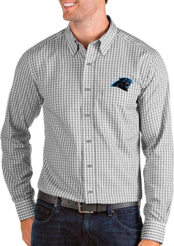 Antigua Men's Carolina Panthers Structure Button Down Grey Dress Shirt product image