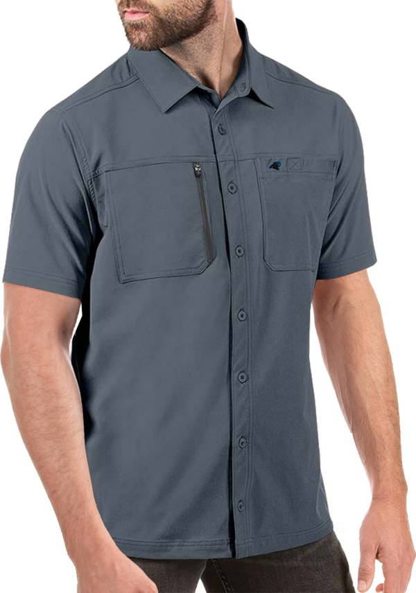 Antigua Men's Carolina Panthers Kickoff Woven Grey Collared T-Shirt product image