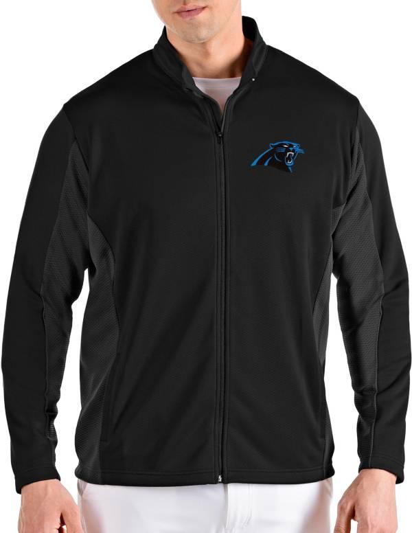 Antigua Men's Carolina Panthers Passage Black Full-Zip Jacket product image