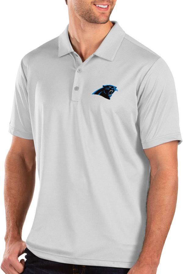 Antigua Men's Carolina Panthers Balance White Polo product image