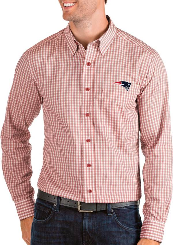 Antigua Men's New England Patriots Structure Button Down Red Dress Shirt product image