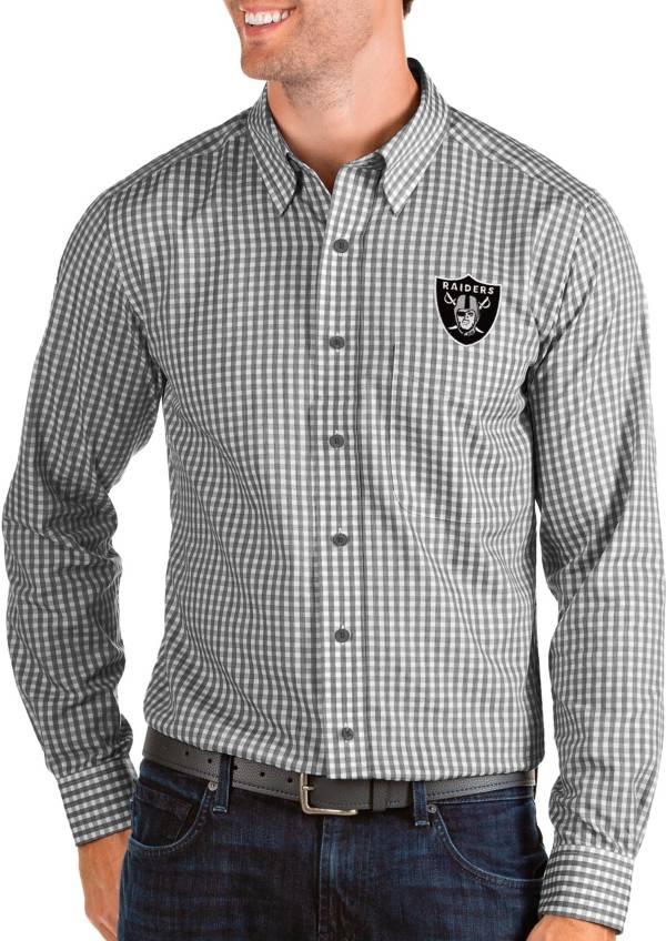 Antigua Men's Las Vegas Raiders Structure Button Down Black Dress Shirt product image