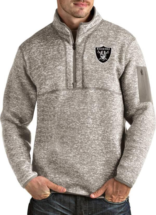 Antigua Men's Las Vegas Raiders Fortune Quarter-Zip Oatmeal Pullover product image