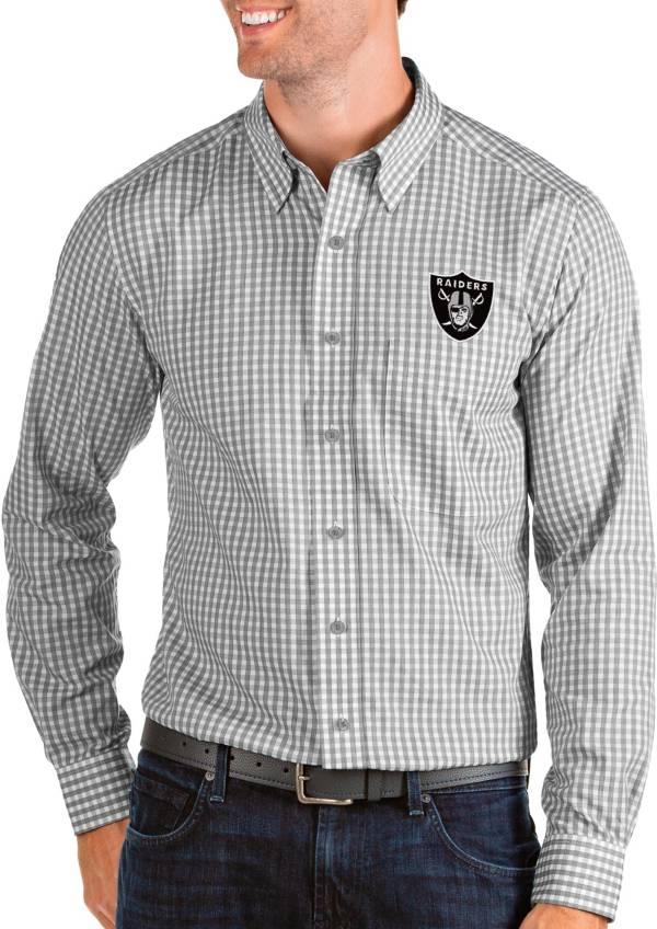 Antigua Men's Las Vegas Raiders Structure Button Down Grey Dress Shirt product image