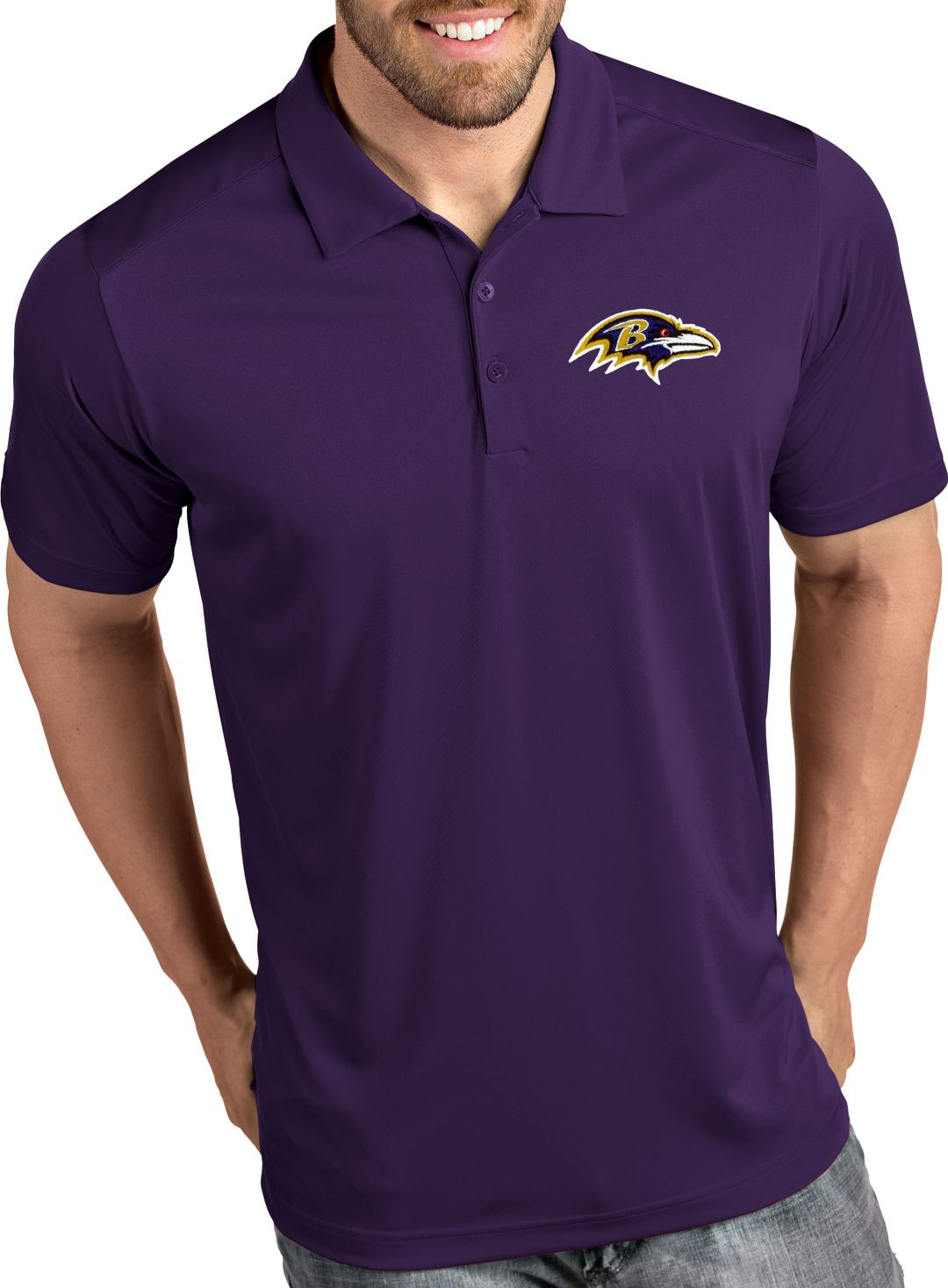 7275d8e6 Antigua Men's Baltimore Ravens Tribute Purple Polo