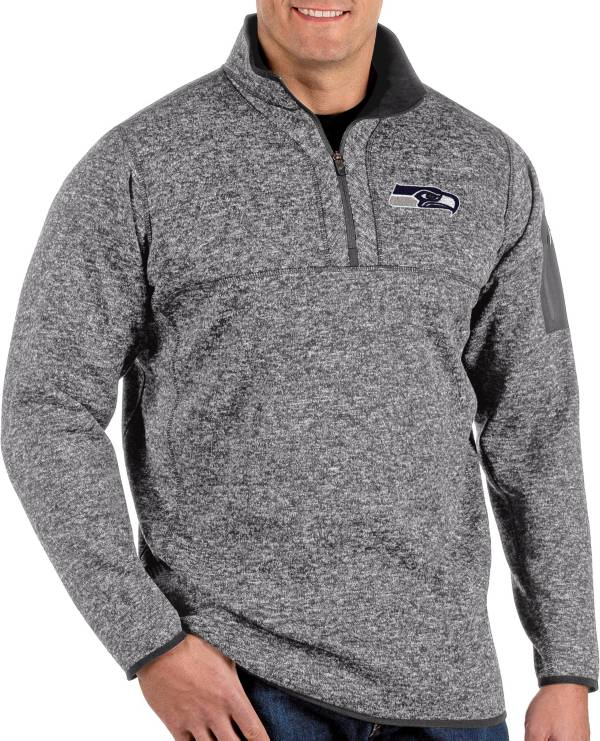 Antigua Men's Seattle Seahawks Fortune Grey Quarter-Zip Pullover product image