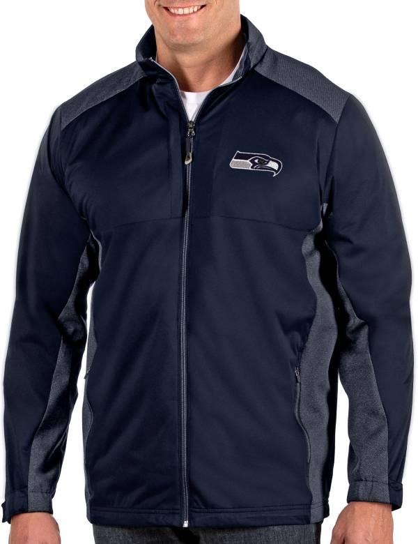 Antigua Men's Seattle Seahawks Revolve Navy Full-Zip Jacket product image