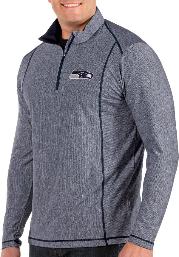 Antigua Men's Seattle Seahawks Tempo Navy Quarter-Zip Pullover product image