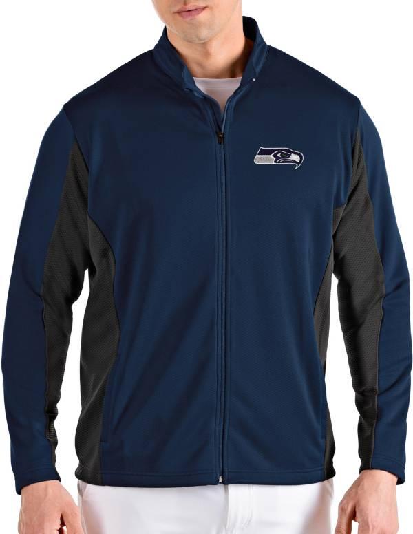 Antigua Men's Seattle Seahawks Passage Navy Full-Zip Jacket product image
