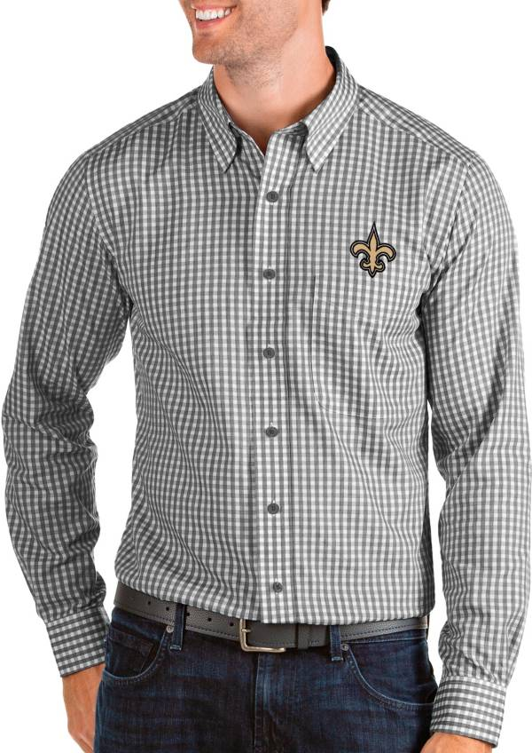 Antigua Men's New Orleans Saints Structure Button Down Black Dress Shirt product image