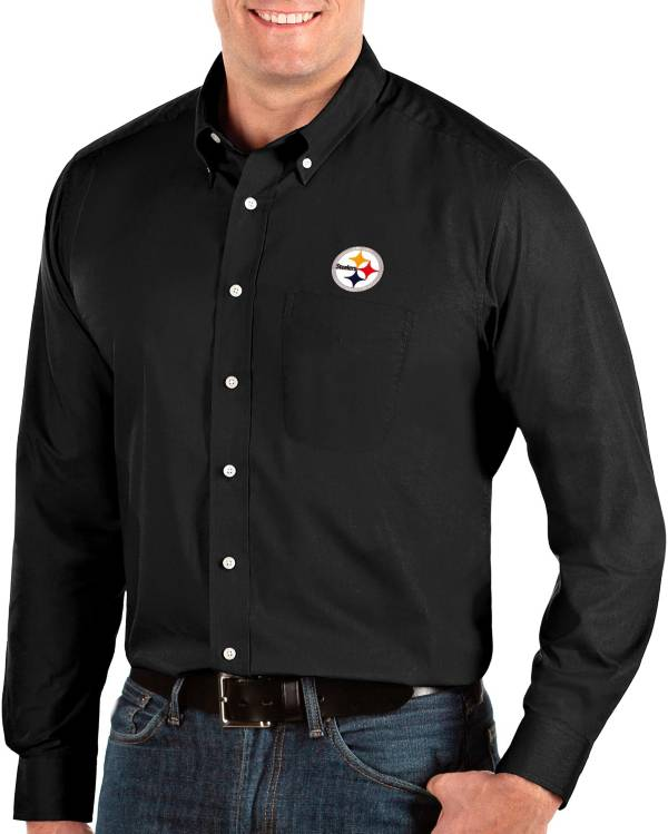 Antigua Men's Pittsburgh Steelers Dynasty Button Down Black Dress Shirt product image