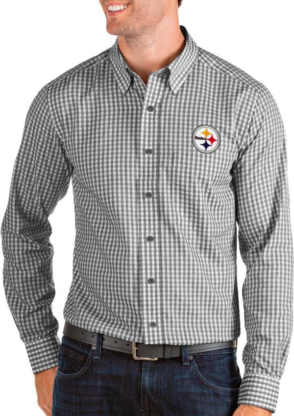 Antigua Men's Pittsburgh Steelers Structure Button Down Black Dress Shirt product image