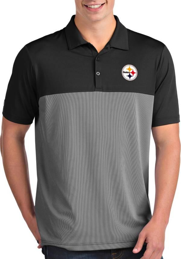 Antigua Men's Pittsburgh Steelers Venture Black Performance Polo product image