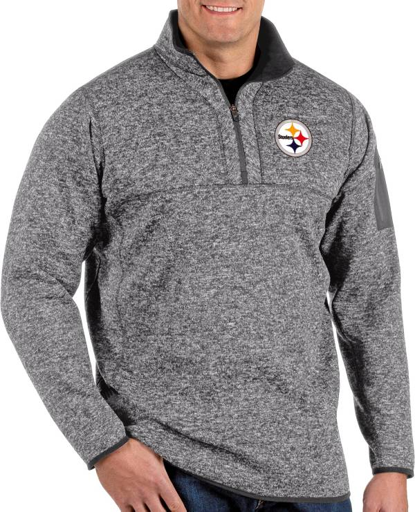 Antigua Men's Pittsburgh Steelers Fortune Grey Quarter-Zip Pullover product image
