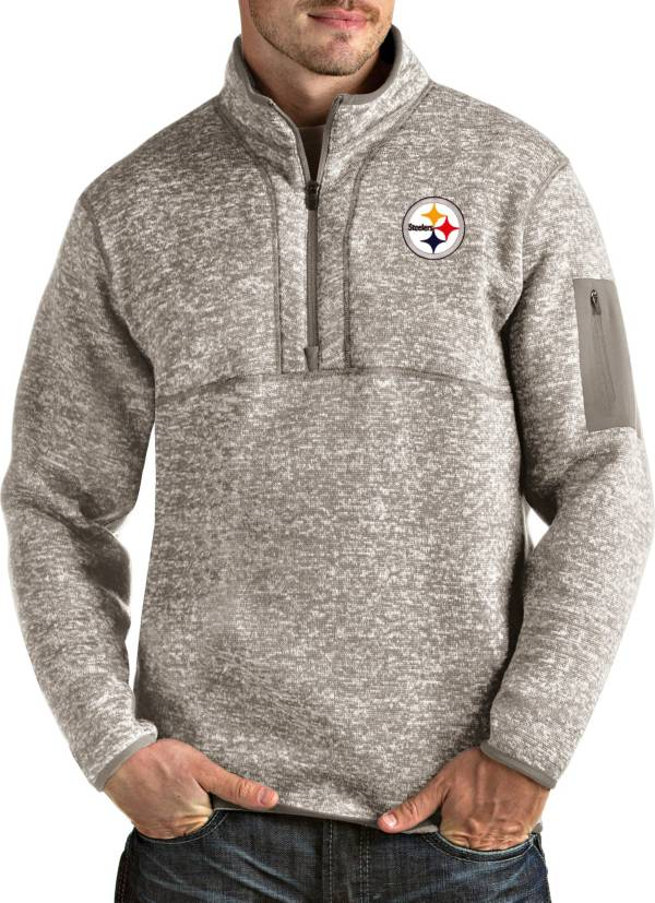 Antigua Men's Pittsburgh Steelers Fortune Quarter-Zip Oatmeal Pullover product image