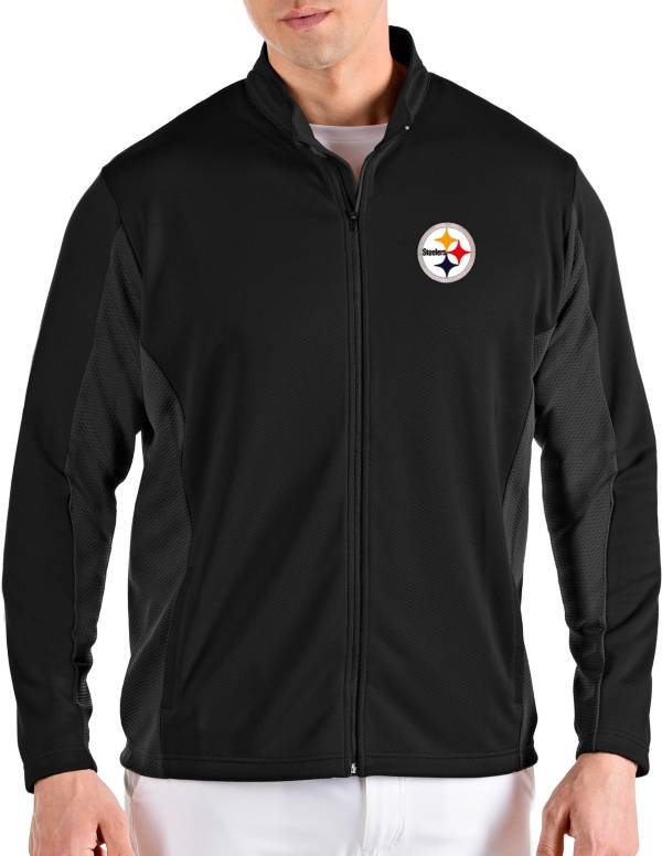 Antigua Men's Pittsburgh Steelers Passage Black Full-Zip Jacket product image