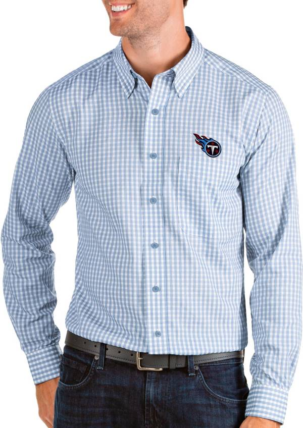 Antigua Men's Tennessee Titans Structure Button Down Blue Dress Shirt product image
