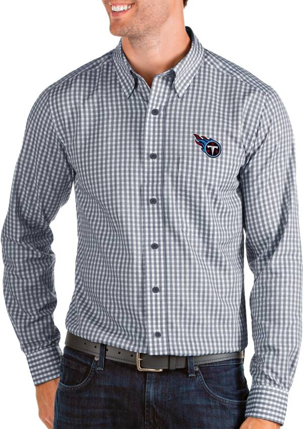 Antigua Men's Tennessee Titans Structure Button Down Navy Dress Shirt product image