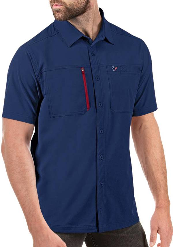 Antigua Men's Houston Texans Kickoff Woven Navy Collared T-Shirt product image
