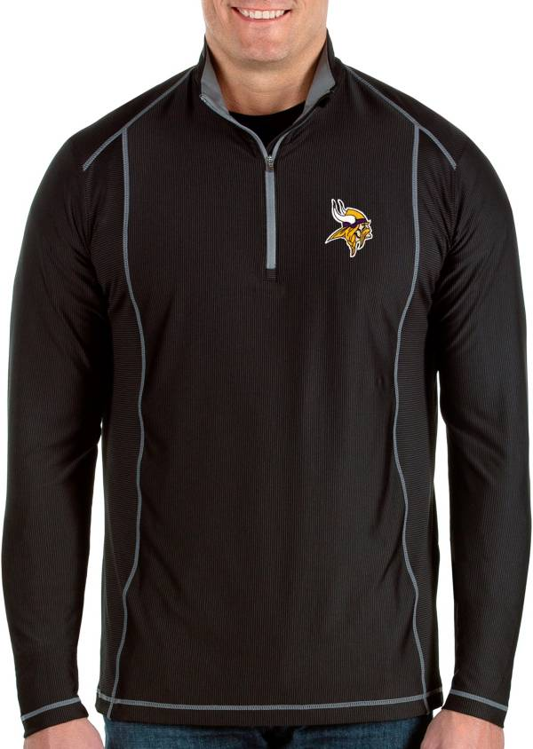 Antigua Men's Minnesota Vikings Tempo Black Quarter-Zip Pullover product image