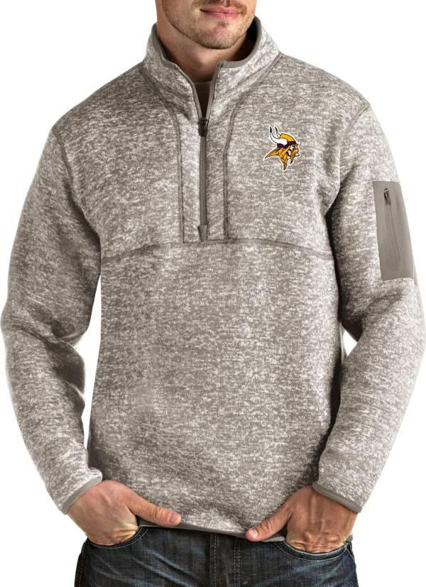 Antigua Men's Minnesota Vikings Fortune Quarter-Zip Oatmeal Pullover product image