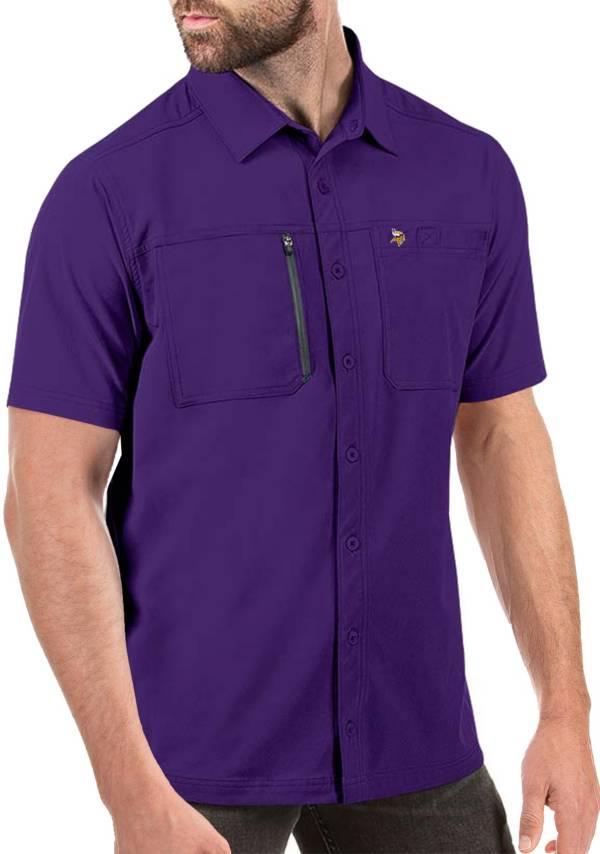 Antigua Men's Minnesota Vikings Kickoff Woven Purple Collared T-Shirt product image